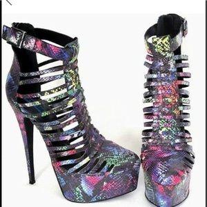 Shoes - 🐍 Snake 🐍 Print Multi Color Platform Heel -SZ 10